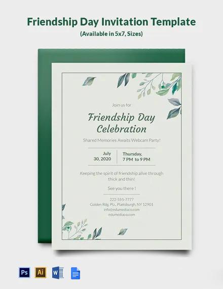 Free Friendship Day Invitation Template