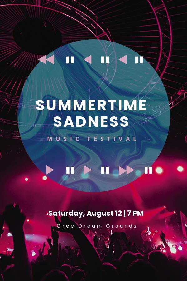 Music Festival Pinterest Pin Template