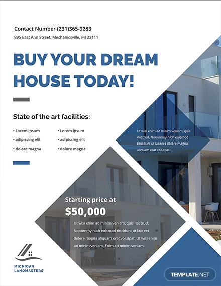 real estate business flyer template 1x