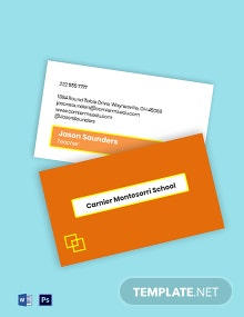 Preschool Admission Business Card Template