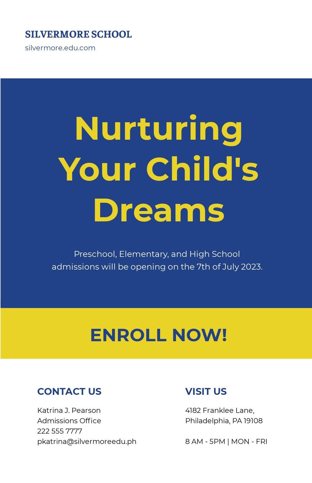 New School Advertisement Poster Template