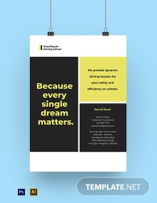 Professional Driving School Poster Template