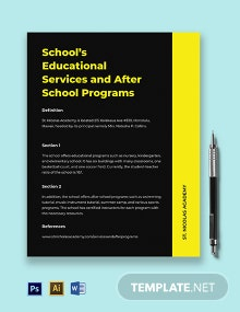 School Fact Sheet Template