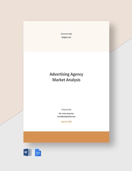Advertising Agency Market Analysis Template