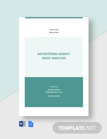 Advertising Agency SWOT Analysis Template