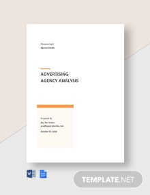 Sample Advertising Agency Analysis Template