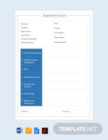 Free Apartment Lease Template