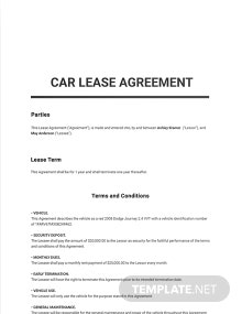 Free Car Lease Agreement Template