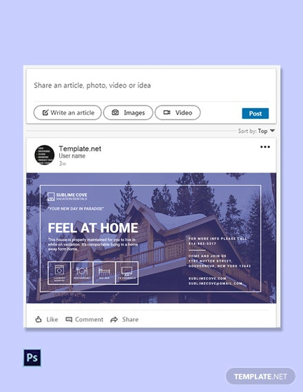 Free Vacation Rental Linkedin Post Template