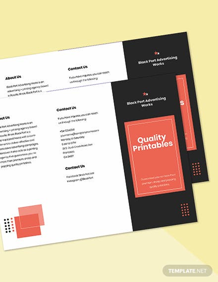 Trifold Creative Advertising Agency Brochure Template Printable