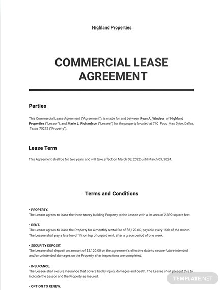Free Commercial Lease Agreement Template