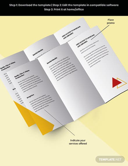Trifold Advertising Graphic Design Brochure Template Snippet
