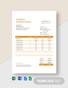 Ad Agency Quotation Format Template
