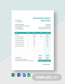 Basic Advertising Agency Quotation Template