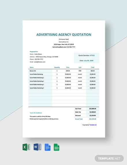 Sample Advertising Agency Quotation Template