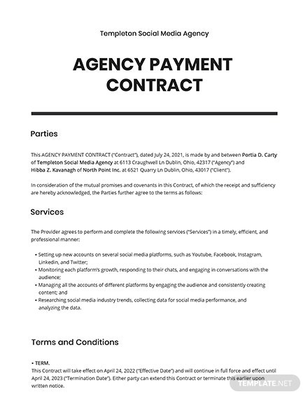 Agency Payment Contract Template