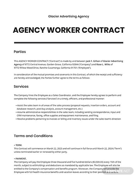 Agency Worker Contract Template
