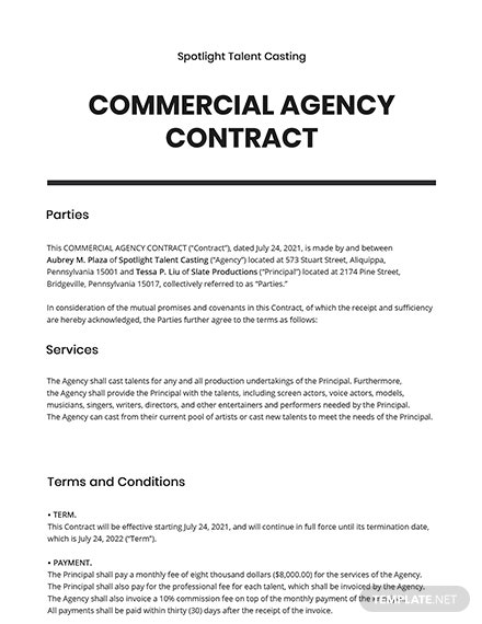 Commercial Agency Contract Template