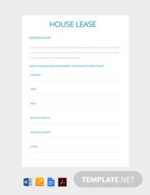Free House Lease Template