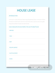 House Lease Template