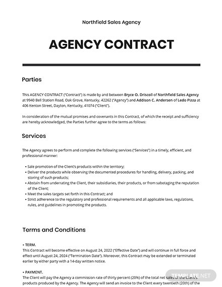 Free Sample Agency Contract