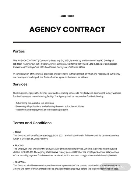 Free Simple Agency Contract