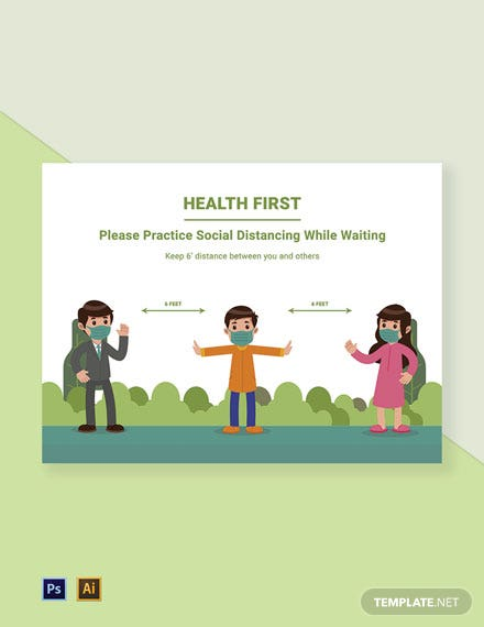 Health First Practice Social Distancing While Waiting Sign Template