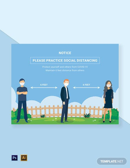 Practice Social Distancing Sign Template