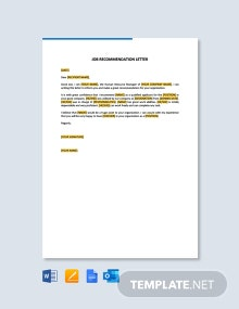 Free Job Recommendation Letter Template