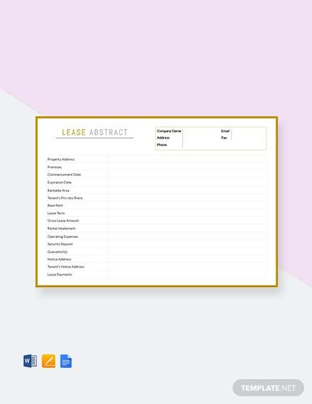 Free Lease Abstract Template