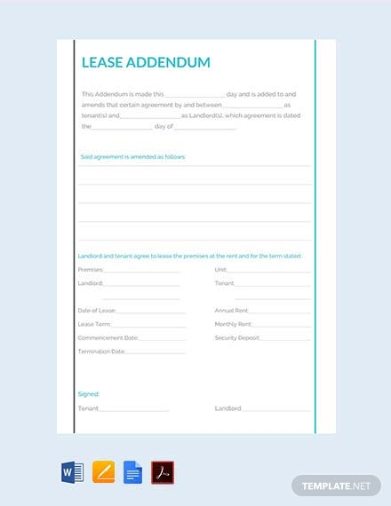 Free Lease Addendum Template