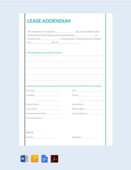 Free Lease Addendum Template