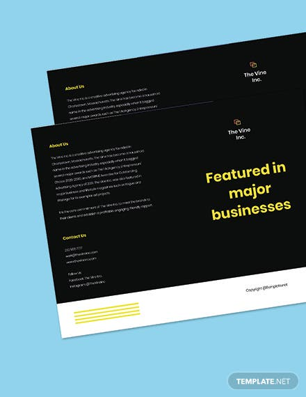 Bifold Free Basic  Advertising Agency Brochure Template Editable