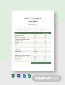 Agency Fee Schedule Template