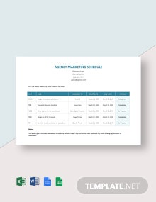 Agency Marketing Schedule Template