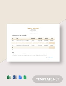 Free Simple Agency Schedule Template