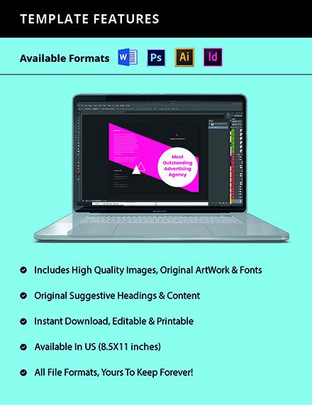 Bifold Creative Advertising Agency Brochure Template Format