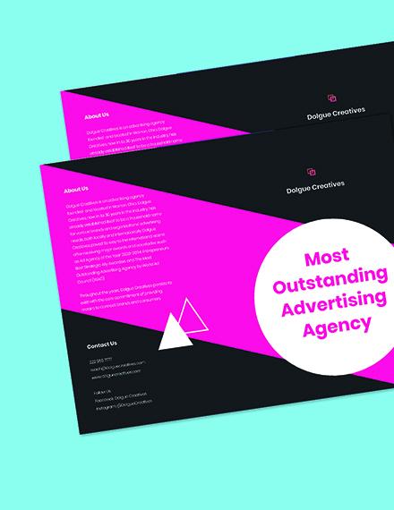Bifold Creative Advertising Agency Brochure Template Printable
