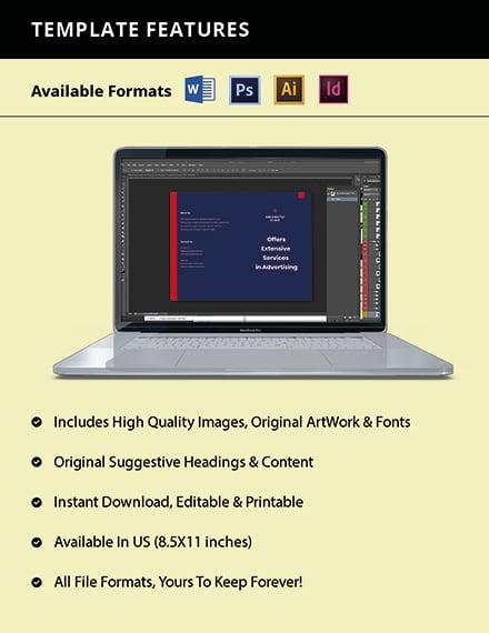 Bifold Advertising Graphic Design Brochure Template Format