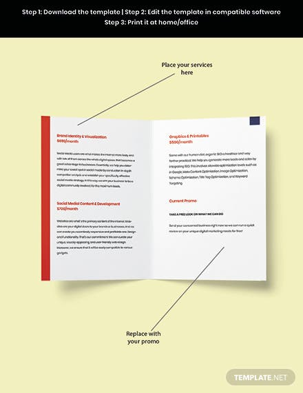 Bifold Advertising Graphic Design Brochure Template Snippet