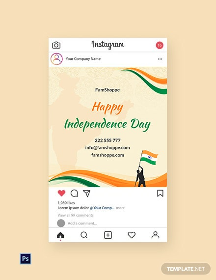 Free Happy Independence Day Instagram Post