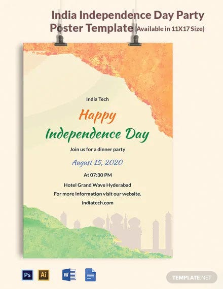Free India Independence Day Party Poster Template