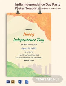 India Independence Day Party Poster Template