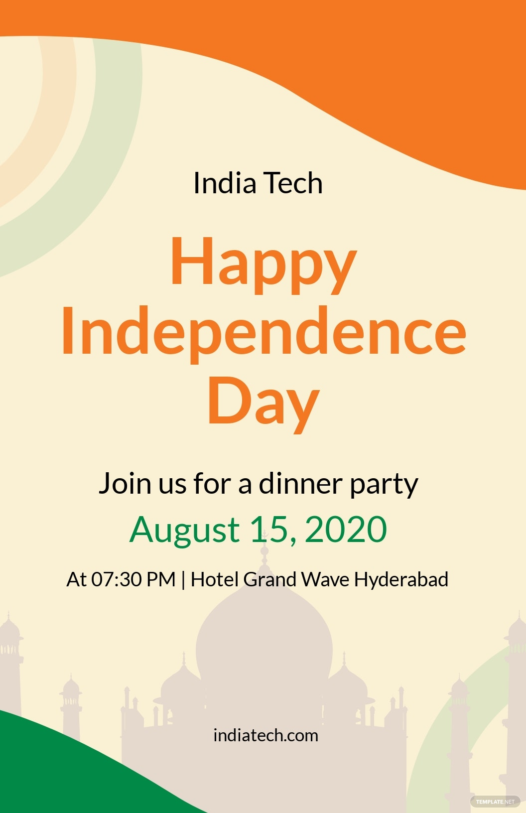 India Independence Day Party Poster Template.jpe
