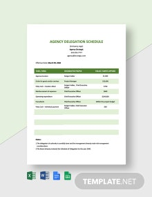 Agency Delegation Schedule Template
