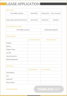 Lease Application Template