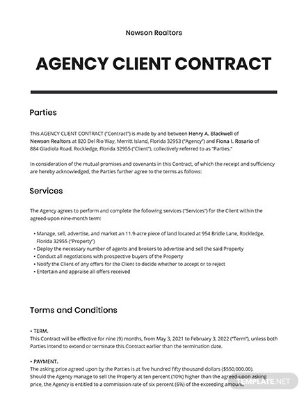 Agency Client Contract