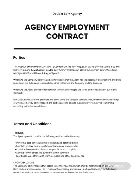 Agency Employment Contract
