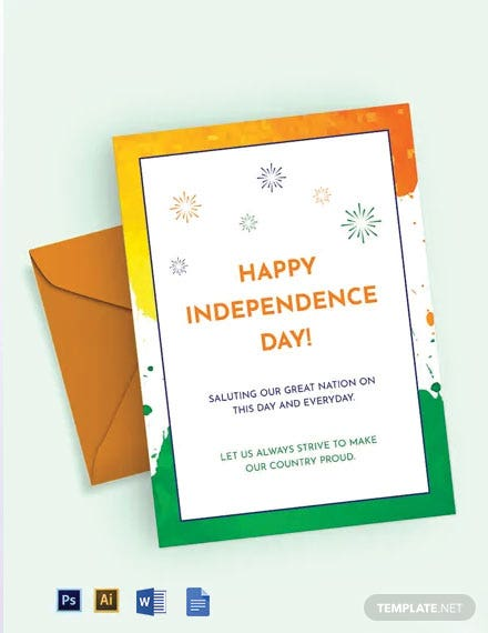 Free India Independence Day Greeting Card Template
