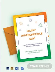 India Independence Day Greeting Card Template